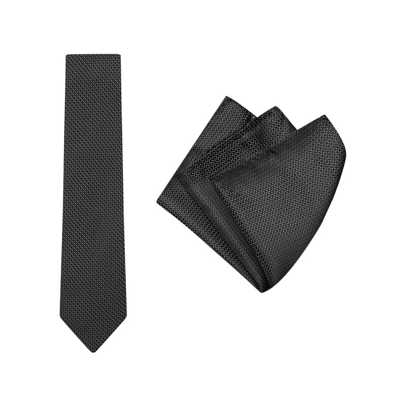 Tie + Pocket Square Set, Grid, Black