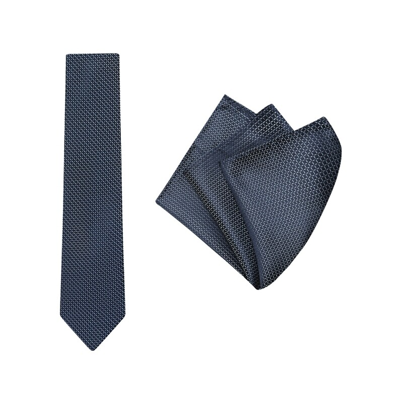 Tie + Pocket Square Set, Grid, Navy
