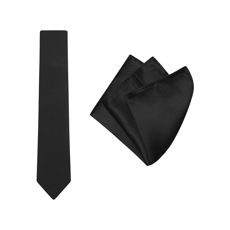Tie + Pocket Square Set, Herringbone, Black