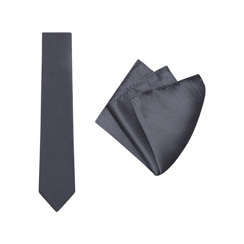 Tie + Pocket Square Set, Herringbone, Charcoal