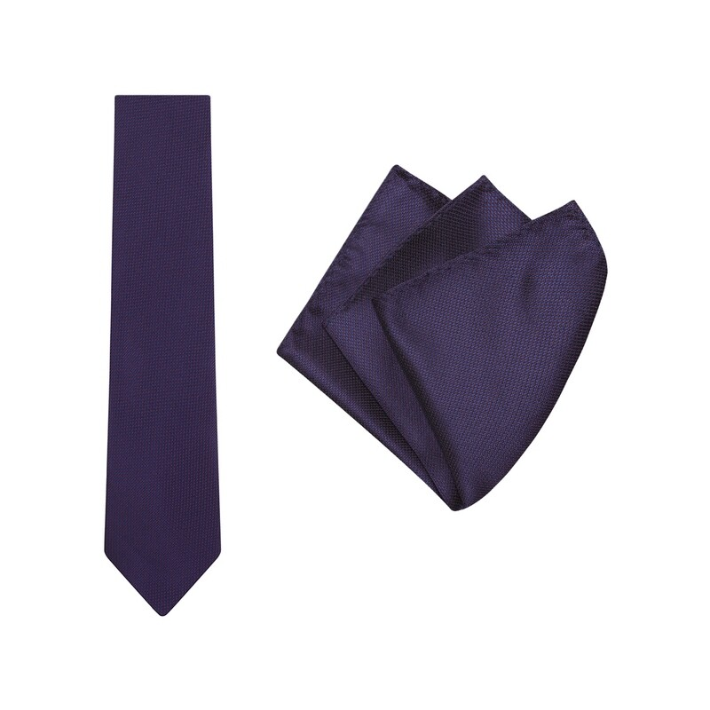 Tie + Pocket Square Set, Micro Spot, Navy