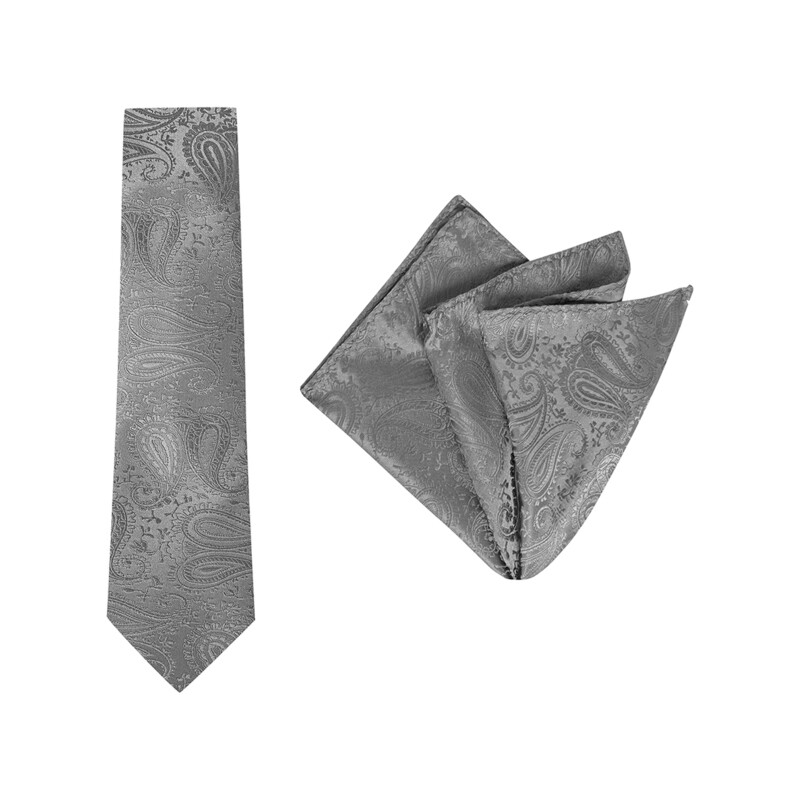 Tie + Pocket Square Set, Paisley, Dark Grey