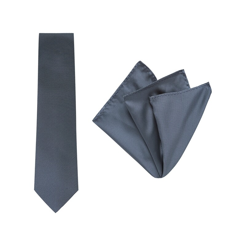 Tie + Pocket Square Set, Pinstripe, Navy