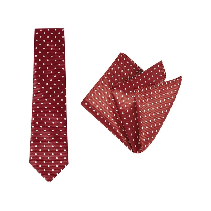 Tie + Pocket Square Set, Spot, Red