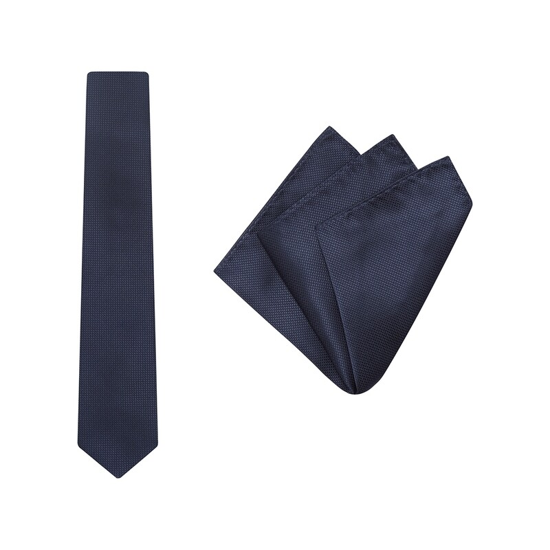 Tie + Pocket Square Set, Wedding, Navy