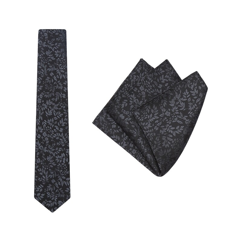Tie + Pocket Square Set, Verde, Black