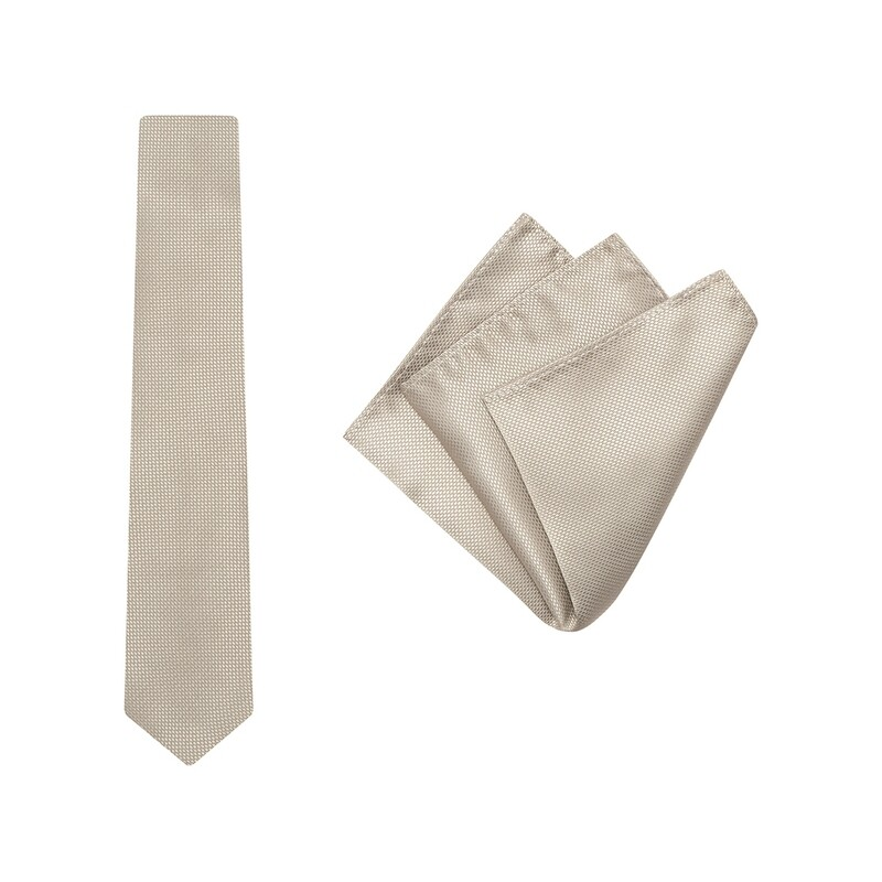 Tie + Pocket Square Set, Wedding, Gold