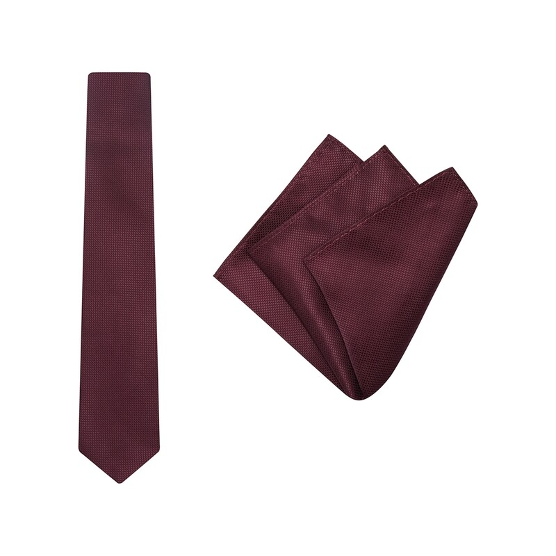 Tie + Pocket Square Set, Wedding, Maroon