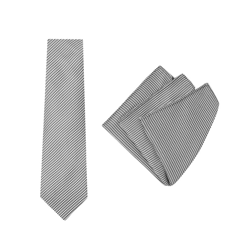 Tie + Pocket Square Set, Vintage, Dogtooth