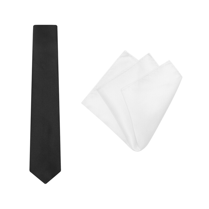 Tie + Pocket Square Set, Wedding, Black/White