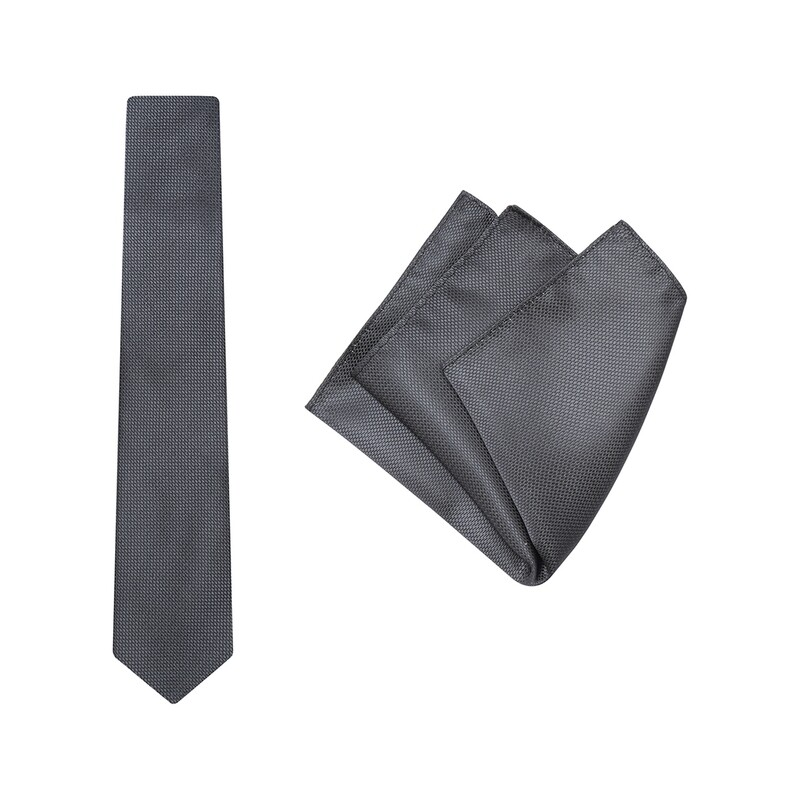 Tie + Pocket Square Set, Wedding, Grey