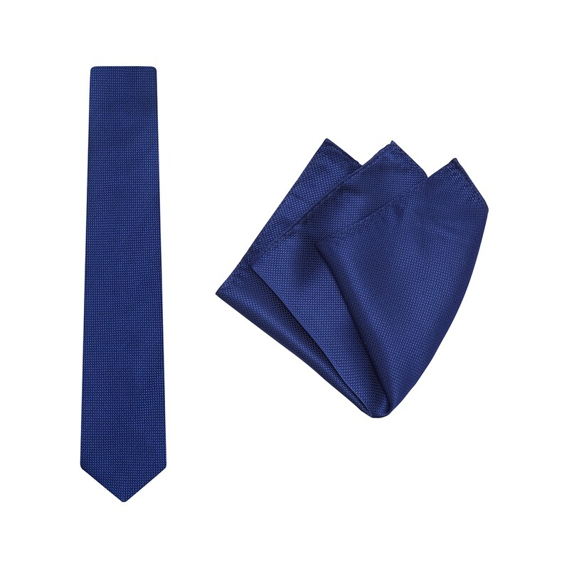 Tie + Pocket Square Set, Wedding, Royal Blue