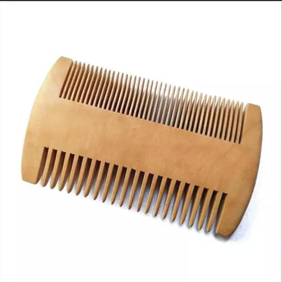 Расческа двусторонняя для усов и бороды деревянная