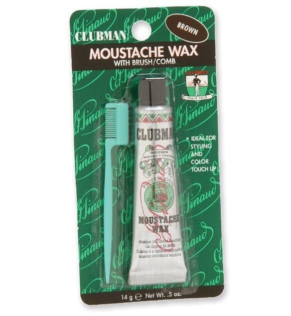 Clubman Moustache Wax Brown - Воск для укладки и подкрашивания бороды с щеточкой (коричневый) 15 мл