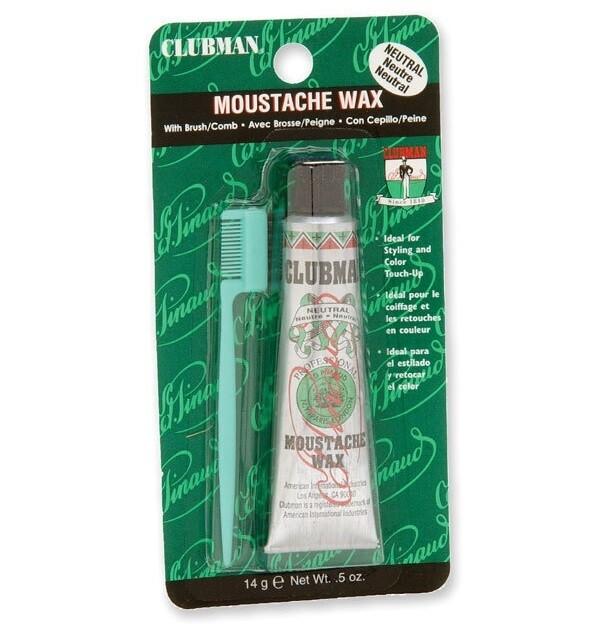 Clubman Moustache Wax Neutral - Воск для укладки и подкрашивания бороды с щеточкой (прозрачный) 15 мл