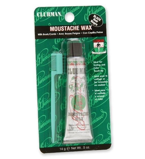 Clubman Moustache Wax Black - Воск для укладки и подкрашивания бороды с щеточкой (черный) 15 мл