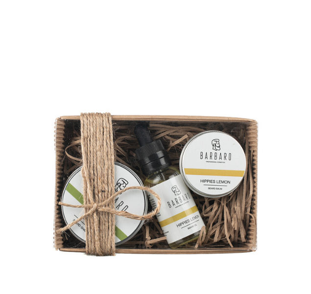Barbaro Set V.3 - Подарочный набор для бородача из масла, бальзама и твердого шампуня для бороды