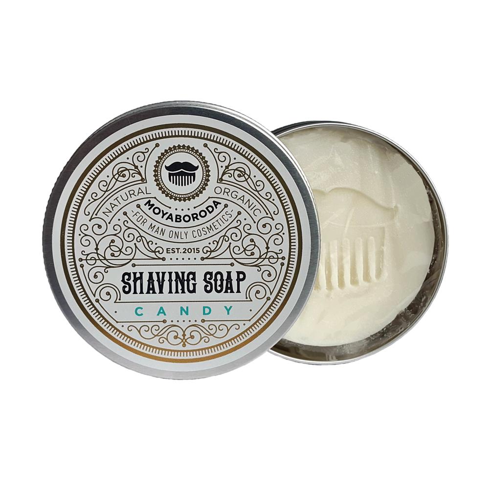 """Moyaboroda Органическое кремовое мыло для бритья """"CANDY v.2.0."""" (охлаждающее, с зеленой Французской глиной). (60 ±10)гр."""