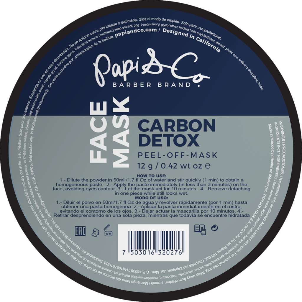 Papi & Co FACE MASK CARBON DETOX - Очищающая и питающая маска для лица 12гр