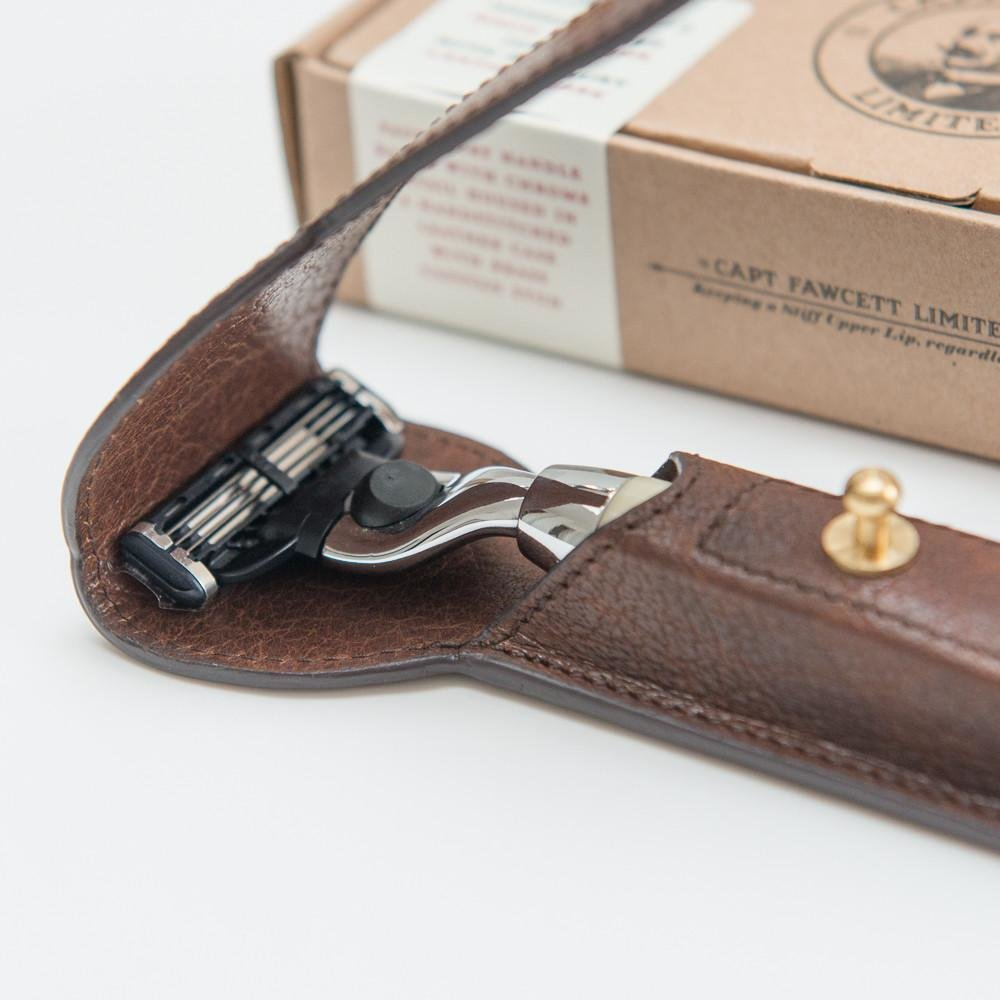 Станок Captain Fawcett CF701 слоновая кость Mach 3 с чехлом / Finest Hand Crafted Safety Razor & Handcrafted Leather Case