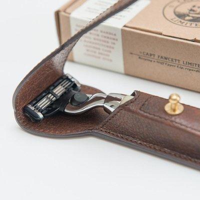 Станок Captain Fawcett CF701 слоновая кость Mach 3 с чехлом / Finest Hand Crafted Safety Razor & Handcrafted Leather Case