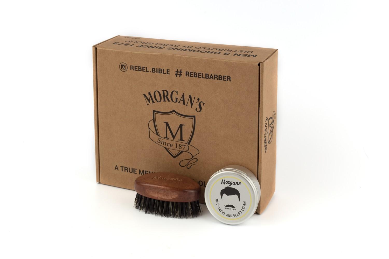 Morgans Подарочный набор крем + щетка для бороды и усов