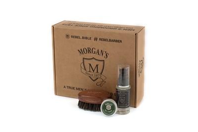 Morgans Подарочный набор эликсир + щетка для бороды и усов с тестером