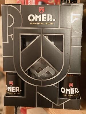 Cadeaubox/geschenkverpakking Omer 4x33 cl + glas