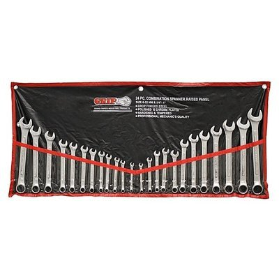 Combination Wrench Set, Chrome, 24-Piece Silver