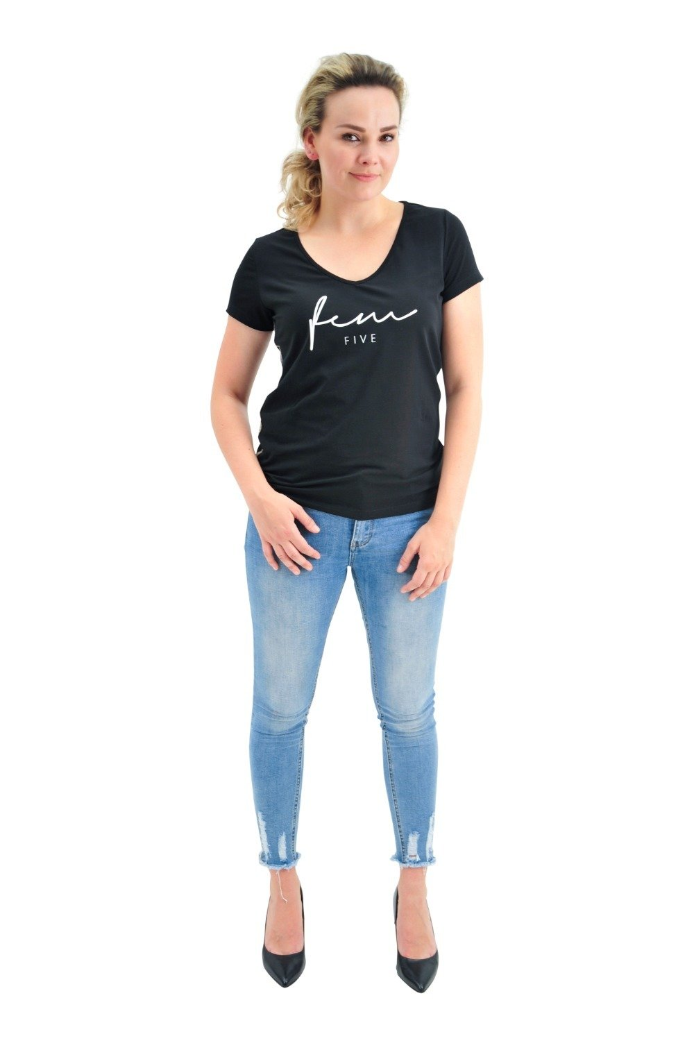 CITY SMILE - T-shirt met V-hals