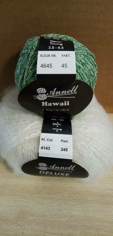 Breimodel oktober 2020 : Deluxe wit & Hawaii groen (op bestelling)