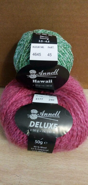 Breimodel oktober 2020 : Deluxe roos & Hawaii groen (op bestelling)