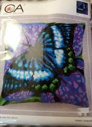 CDA VOORGEDRUKT KRUISSTEEKKUSSEN  met vlinder