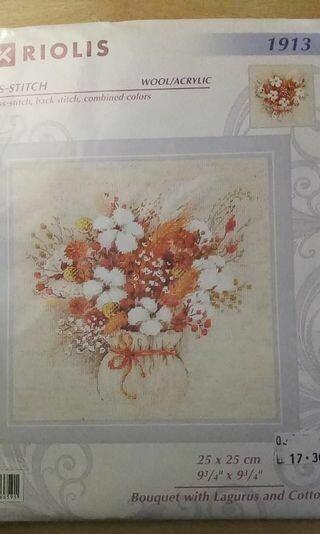 riolis 1913 bouquet with lagurus and cotton 25x25cm
