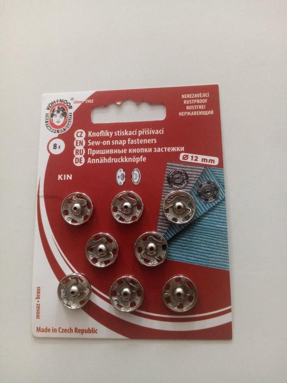 12mm zilver drukknop naaibaar