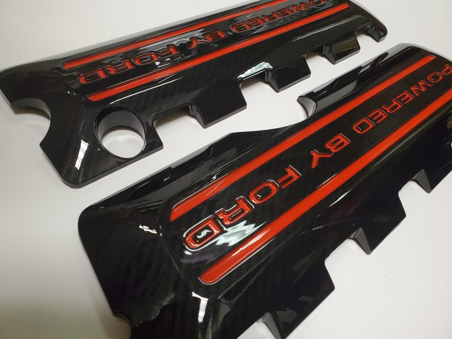 Mustang Coil Covers red letters snd stripes