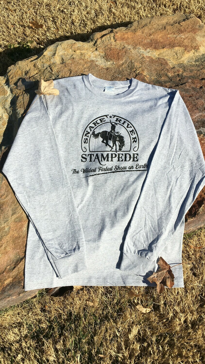 Men's Long Sleeve T-shirt with traditional Snake River Stampede logo