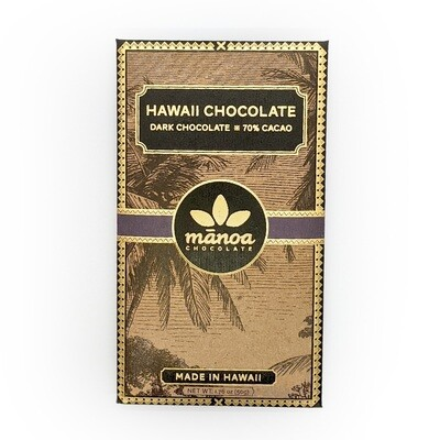 Chocolate Bar, 70% Dark (Manoa Chocolate) - 50 g