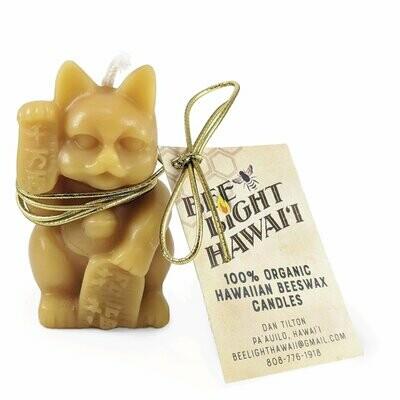 "Candle, Beeswax  Maneki Neko ""Lucky Cat"""