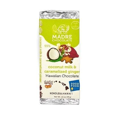 Madre Chocolate, 55% Coconut Milk & Ginger Chocolate Bar (1.5 Oz.)