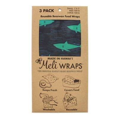 Meli Wraps, Beeswax Food Wraps - Sharky Shark (3-Pack)