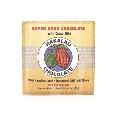 Hakalau Chocolate, Cacao Nibs Super Dark Chocolate Bar (2 Oz.)