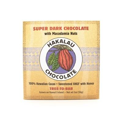Hakalau Chocolate, Macadamia Nut Super Dark Chocolate Bar (2 Oz.)