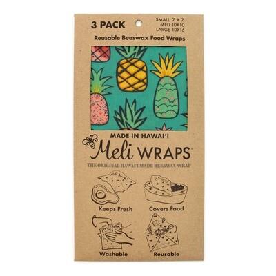 Meli Wraps, Beeswax Food Wraps - Pineapple (3-Pack)