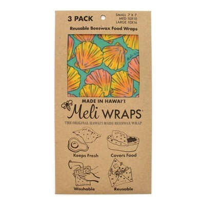 Meli Wraps, Beeswax Food Wraps - Shells (3-Pack)