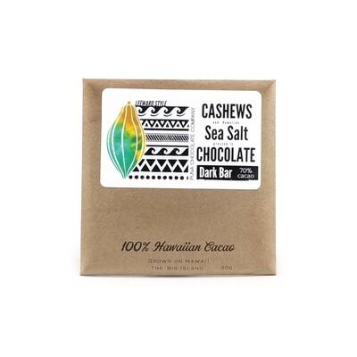 Puna Chocolate, 70% Cashew & Sea Salt Chocolate Bar (1 Oz.)