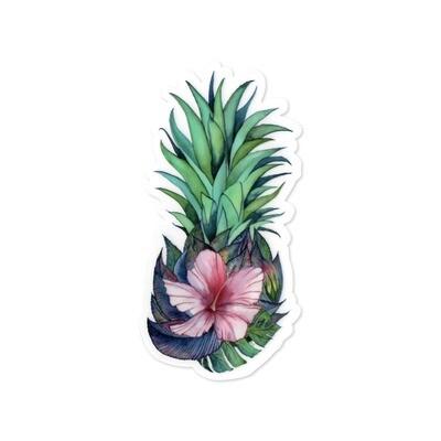 Sticker, Ashley Kaase - Hibiscus Pineapple Die Cut Vinyl Sticker