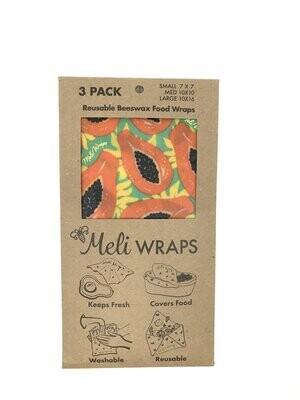Meli Wraps, Beeswax Food Wraps - Tropical Papaya (3-Pack)