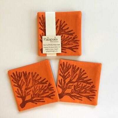 Drink Coaster Set, Palapala Designs - Ko'a Orange