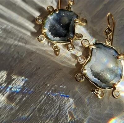 Geode & Diamond Earrings